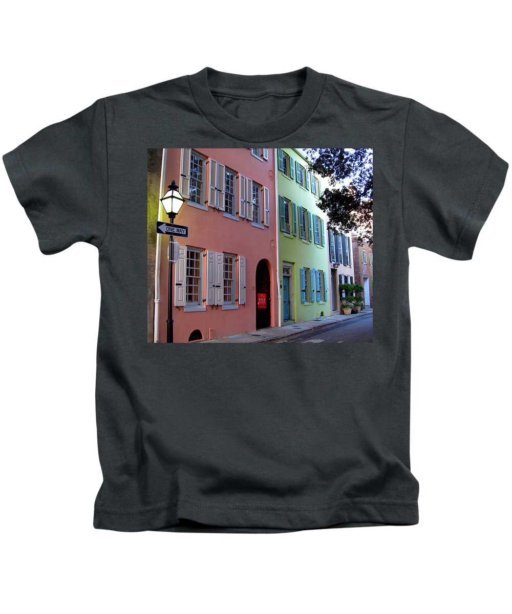 Photography Kids T-Shirt featuring the photograph Pretty Lane In Charleston by Susanne Van Hulst
