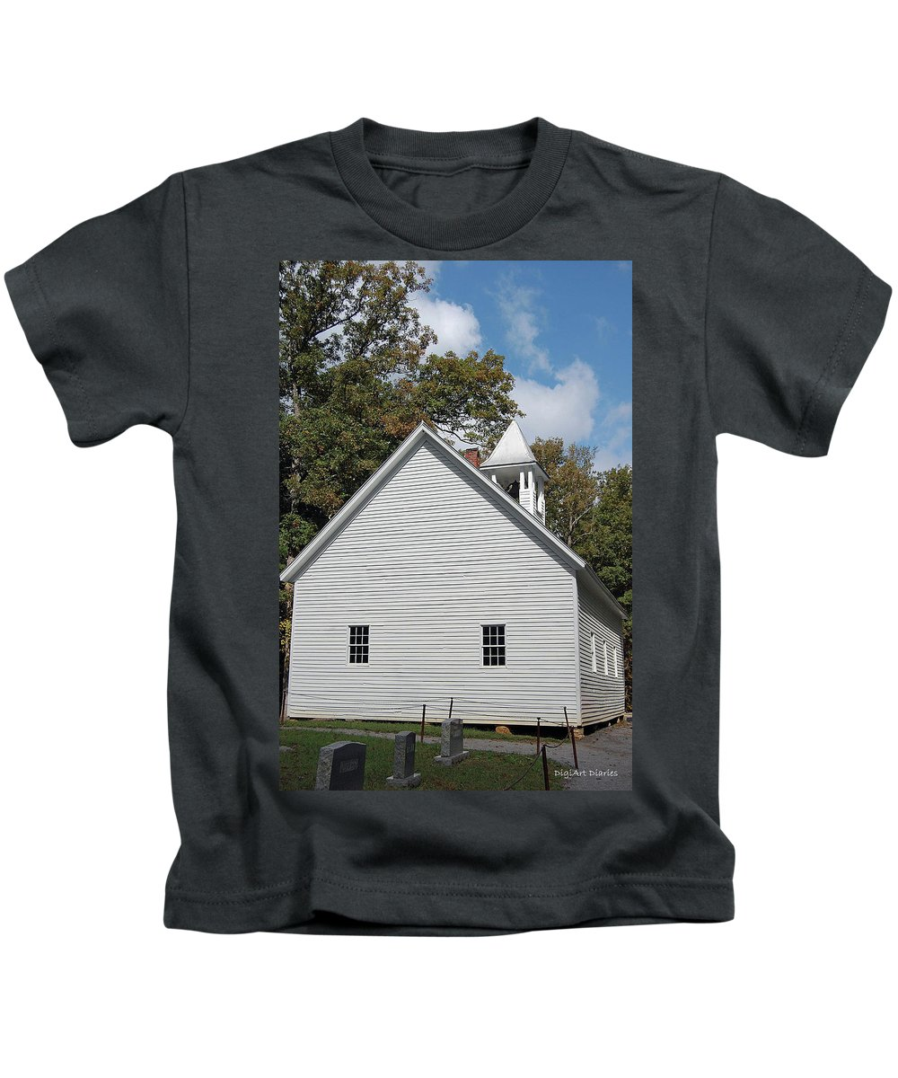 Cades Cove Kids T-Shirt featuring the digital art Primitive Baptist Church Est 1827 by DigiArt Diaries by Vicky B Fuller