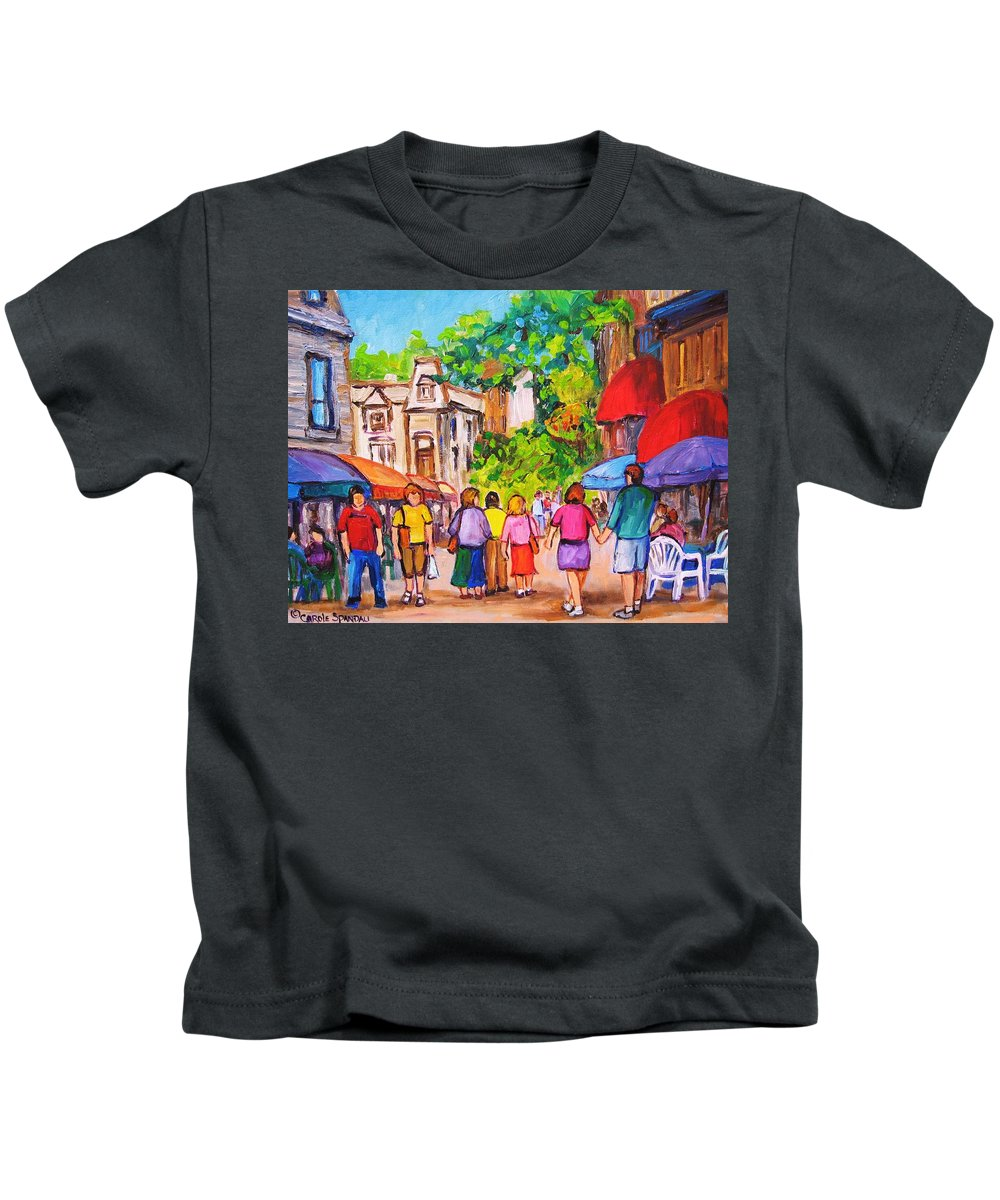 Rue Prince Arthur Montreal Street Scenes Kids T-Shirt featuring the painting Prince Arthur Street Montreal by Carole Spandau