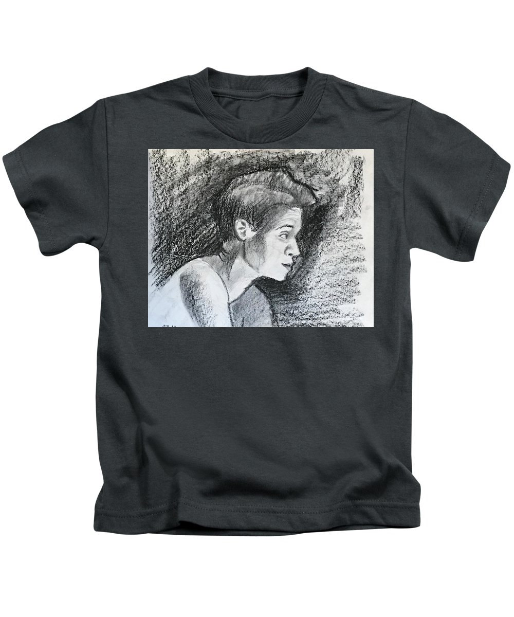 Kids T-Shirt featuring the drawing Profile Of A Black Woman by Alejandro Lopez-Tasso