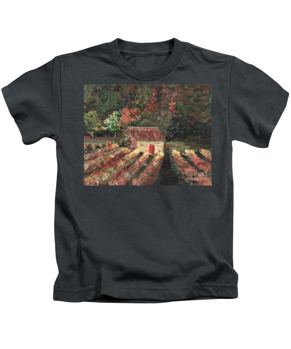 Landscape Kids T-Shirt featuring the painting Provence Vineyard by Nadine Rippelmeyer