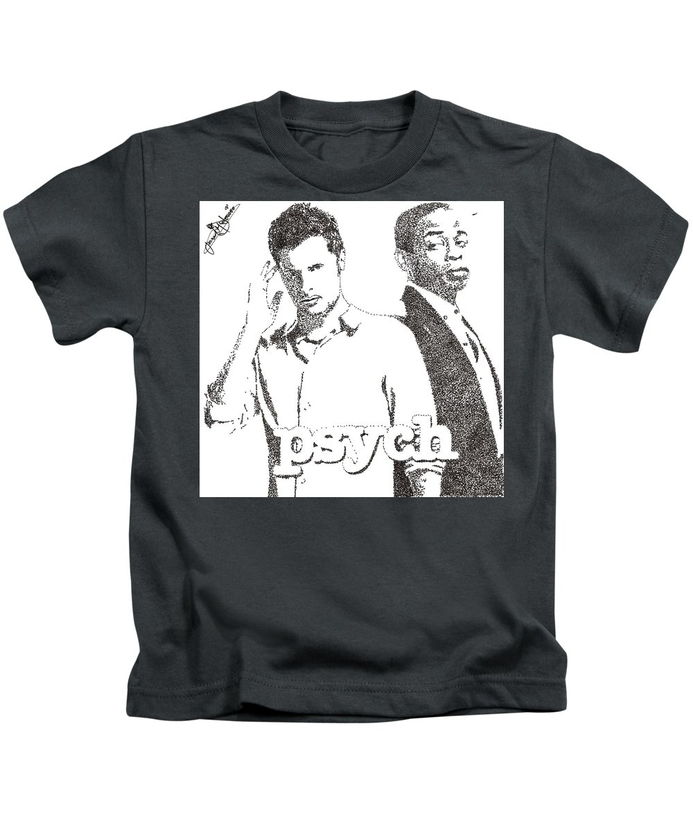 Tv Series Kids T-Shirt featuring the drawing Psych by Jordan Jessee