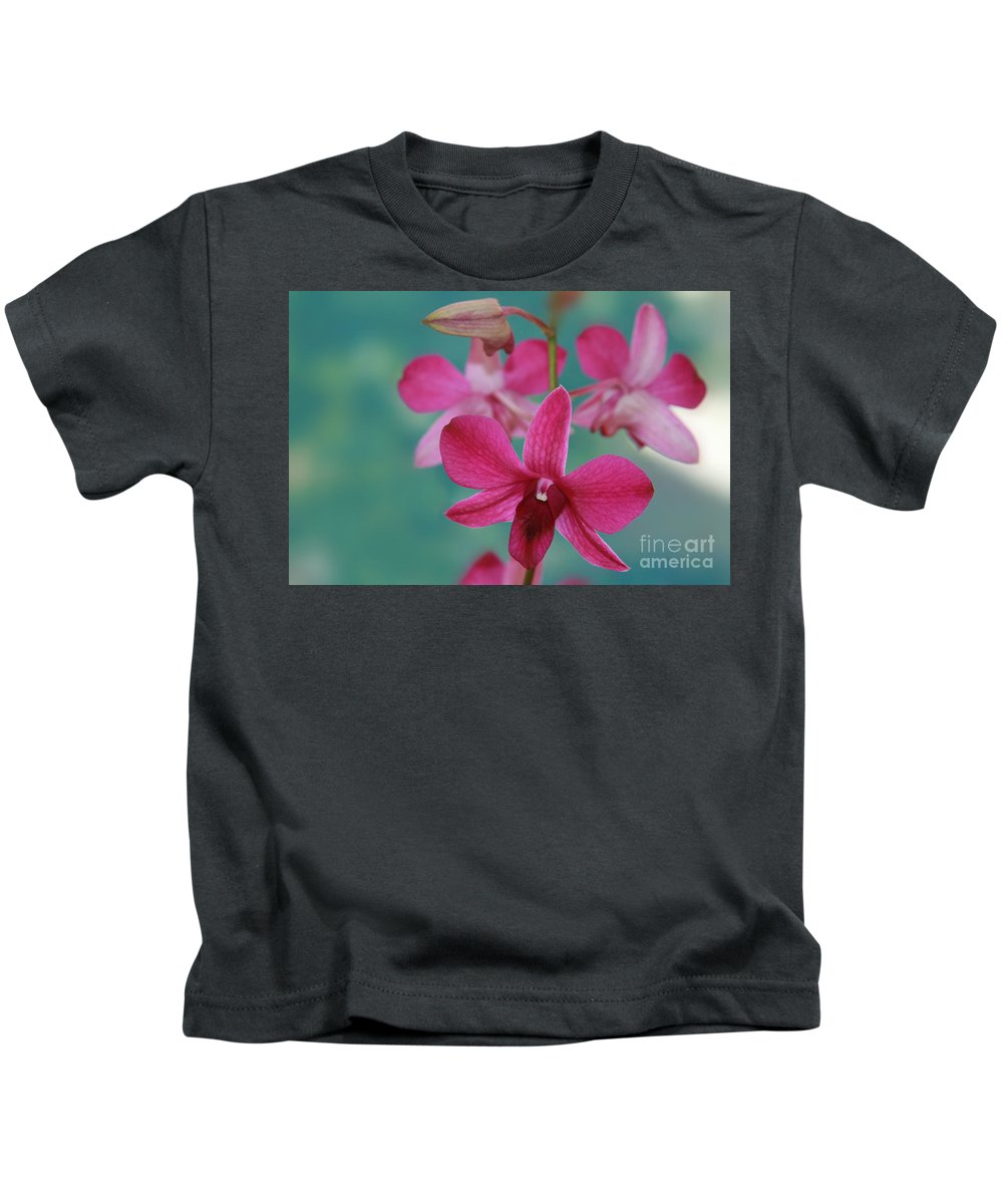 Aloha Kids T-Shirt featuring the photograph Puanani Kealoha Dendrobium D Burana Red Flame Hawaiian Orchid by Sharon Mau
