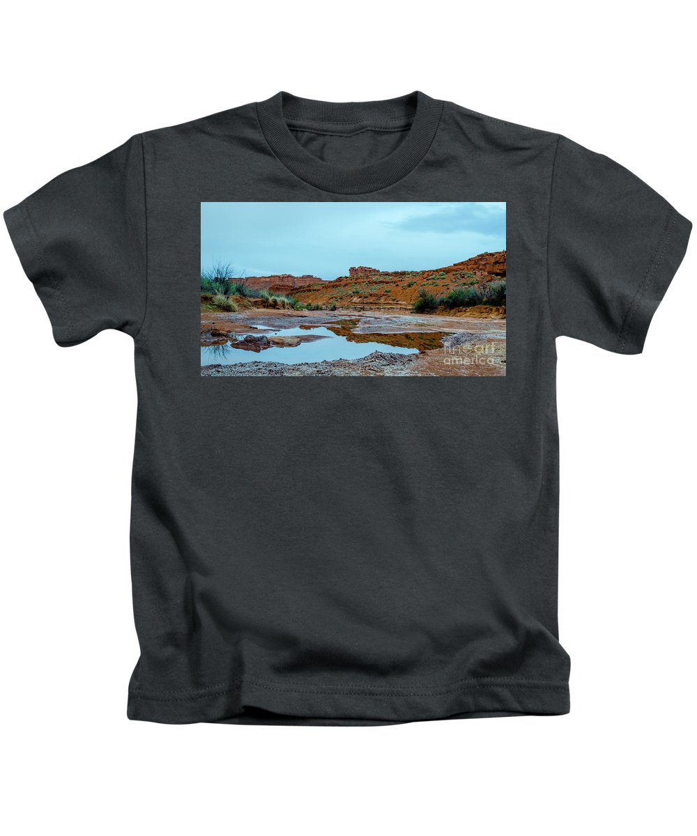 Valley Of The Gods Kids T-Shirt featuring the photograph Puddle by Jerry Sellers