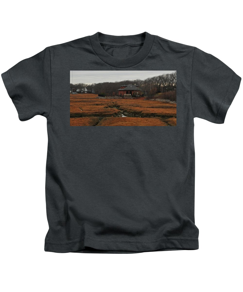 Pumping Station On The Salt Marsh Rock Island Houghs Neck Quincy Ma Kids T-Shirt featuring the photograph Pumping Station On The Marsh by Bill Driscoll