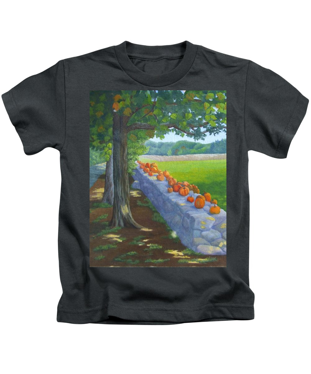 Pumpkins Kids T-Shirt featuring the painting Pumpkin Muster by Sharon E Allen