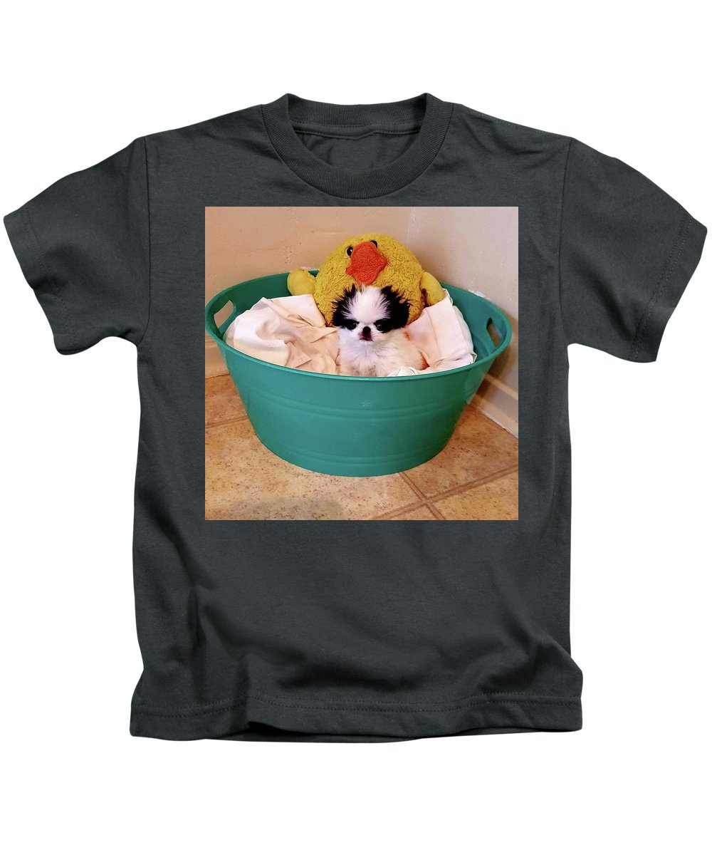 Japanese Chin Kids T-Shirt featuring the photograph Puppy in a Bucket, Japanese Chin by Kathleen Sepulveda