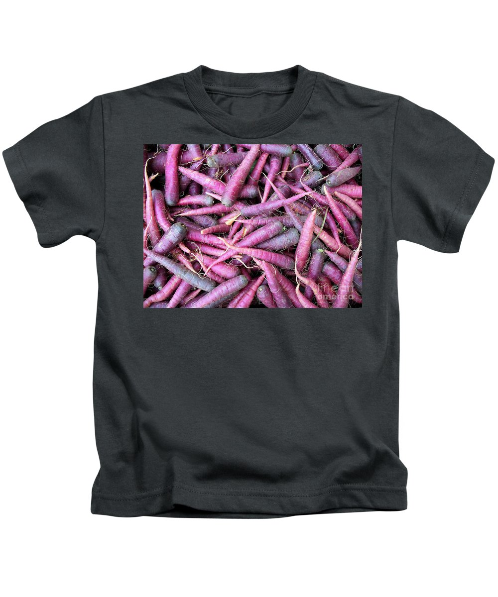 Purple Carrot Vegetable Health Healthy Root Basket Organic Kids T-Shirt featuring the photograph Purple Carrots Number 1 by Heather Kirk