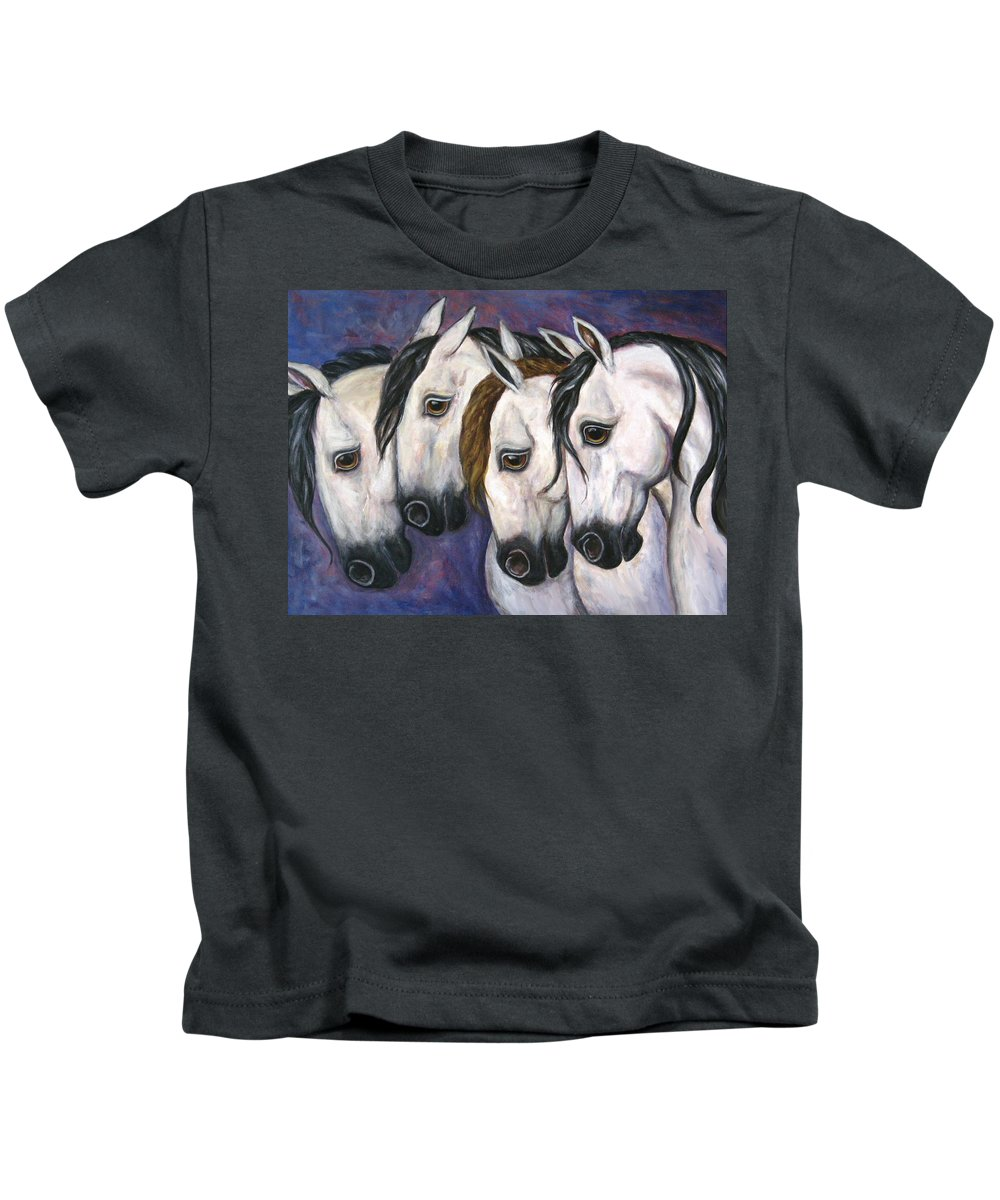 Horse Painting Kids T-Shirt featuring the painting Purple Haze by Frances Gillotti