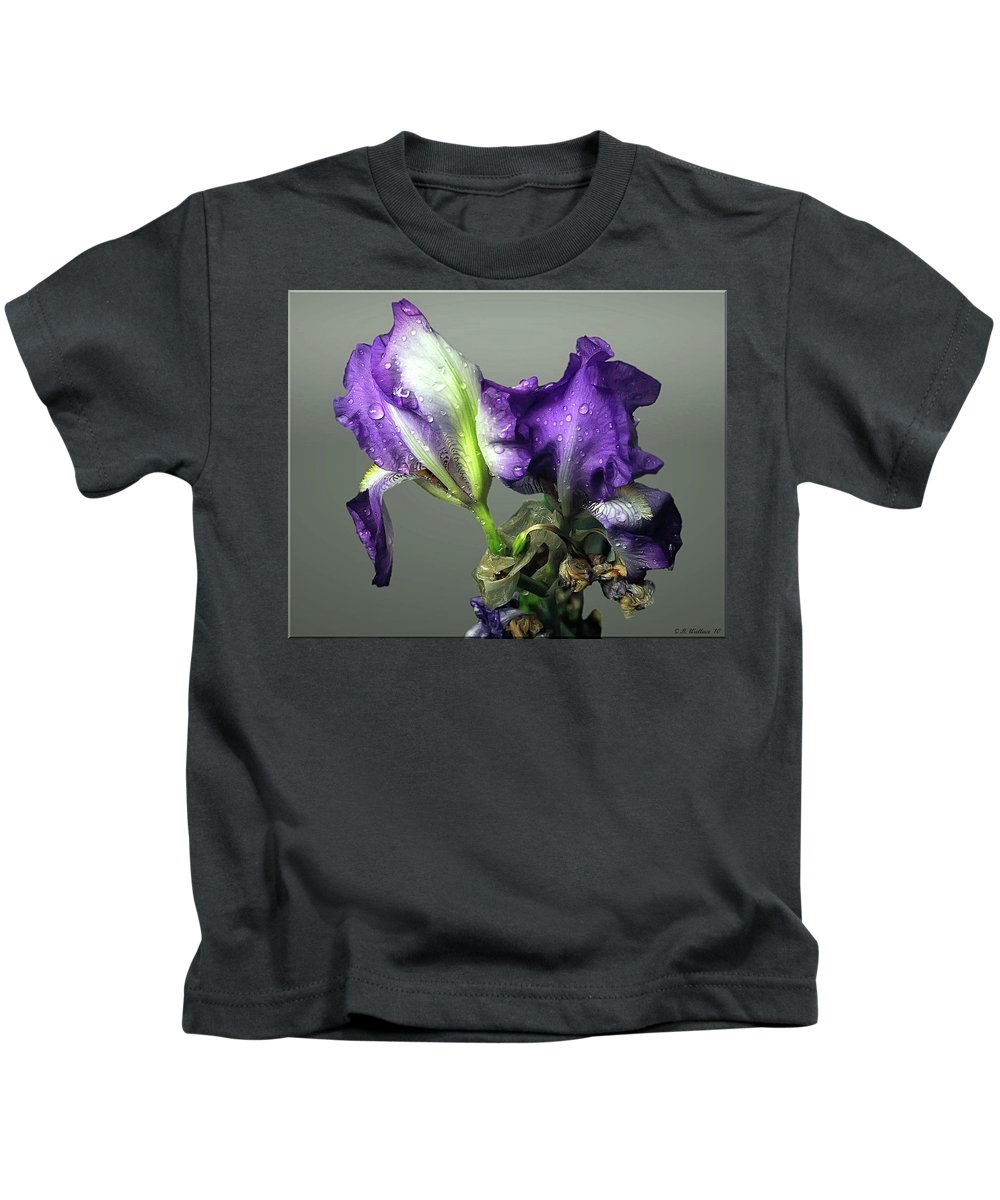 2d Kids T-Shirt featuring the photograph Purple Iris Water Drops by Brian Wallace