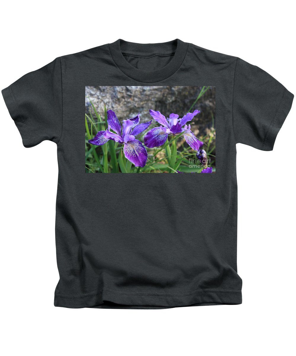 Purple Kids T-Shirt featuring the photograph Purple Irises With Gray Rock by Carol Groenen
