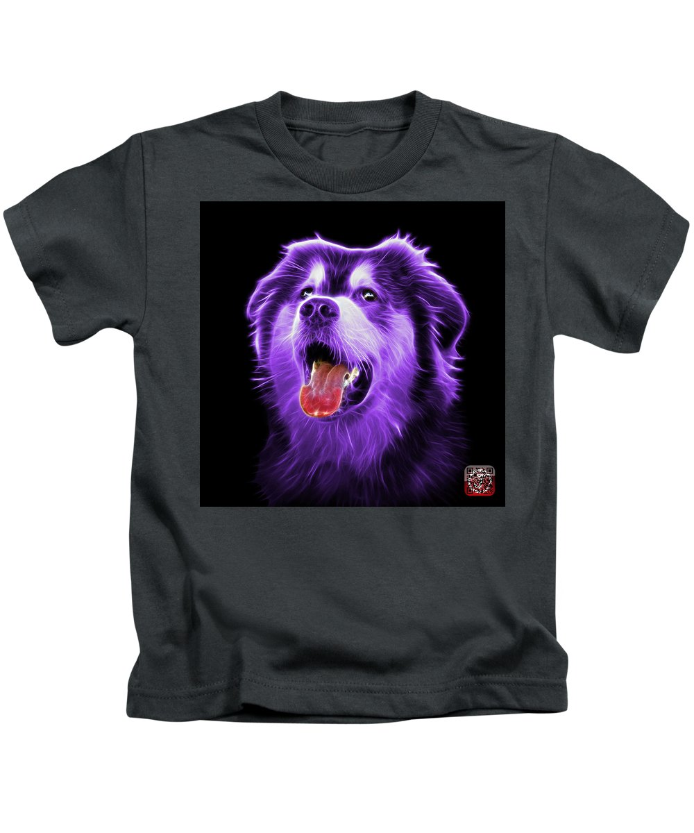 Dog Kids T-Shirt featuring the painting Purple Malamute Dog Art - 6536 - Bb by James Ahn