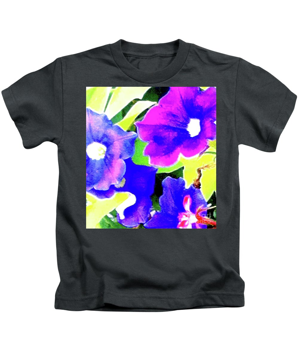 Flower Kids T-Shirt featuring the photograph Purple Petunias 1 by Ken Lerner
