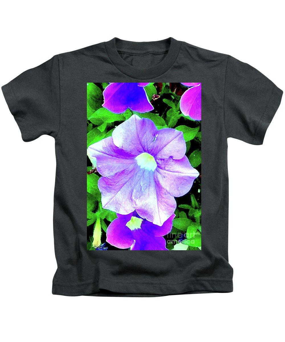 Flower Kids T-Shirt featuring the photograph Purple Petunias 2 by Ken Lerner