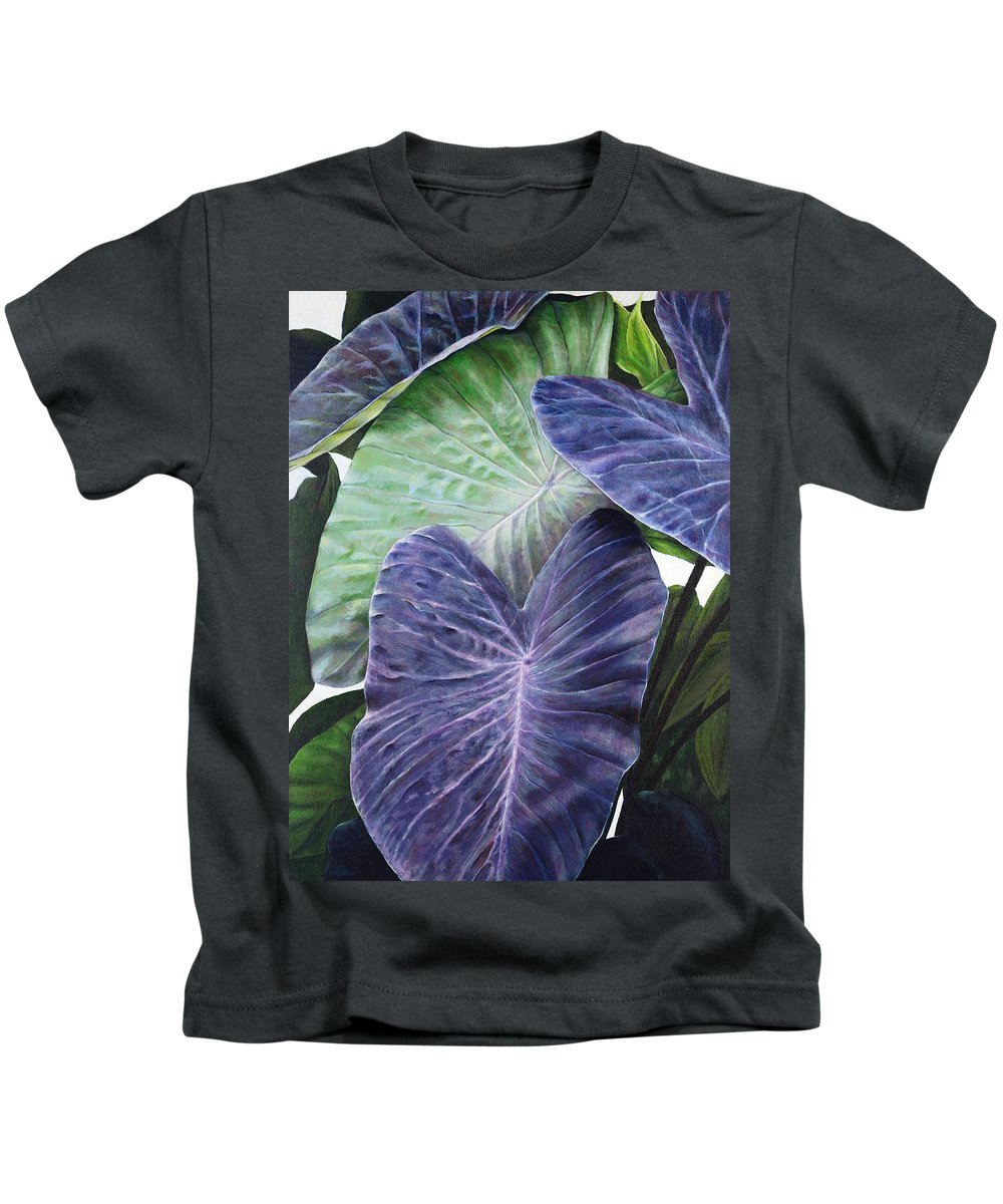 Acrylic Kids T-Shirt featuring the painting Purple Taro by Sandra Blazel - Printscapes