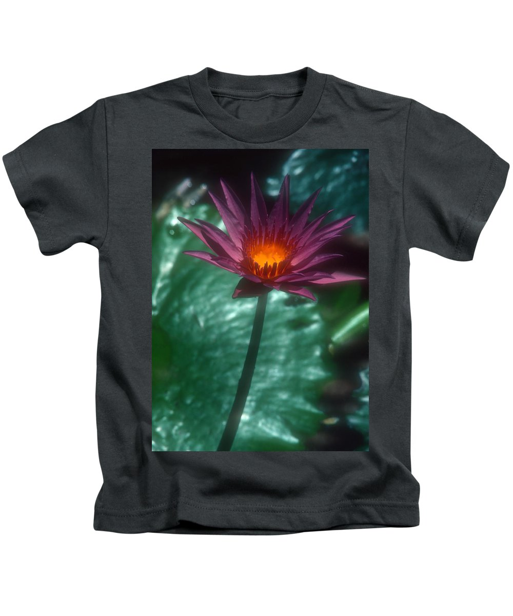 Flower Kids T-Shirt featuring the photograph Purple Water Lily by Stephen Anderson