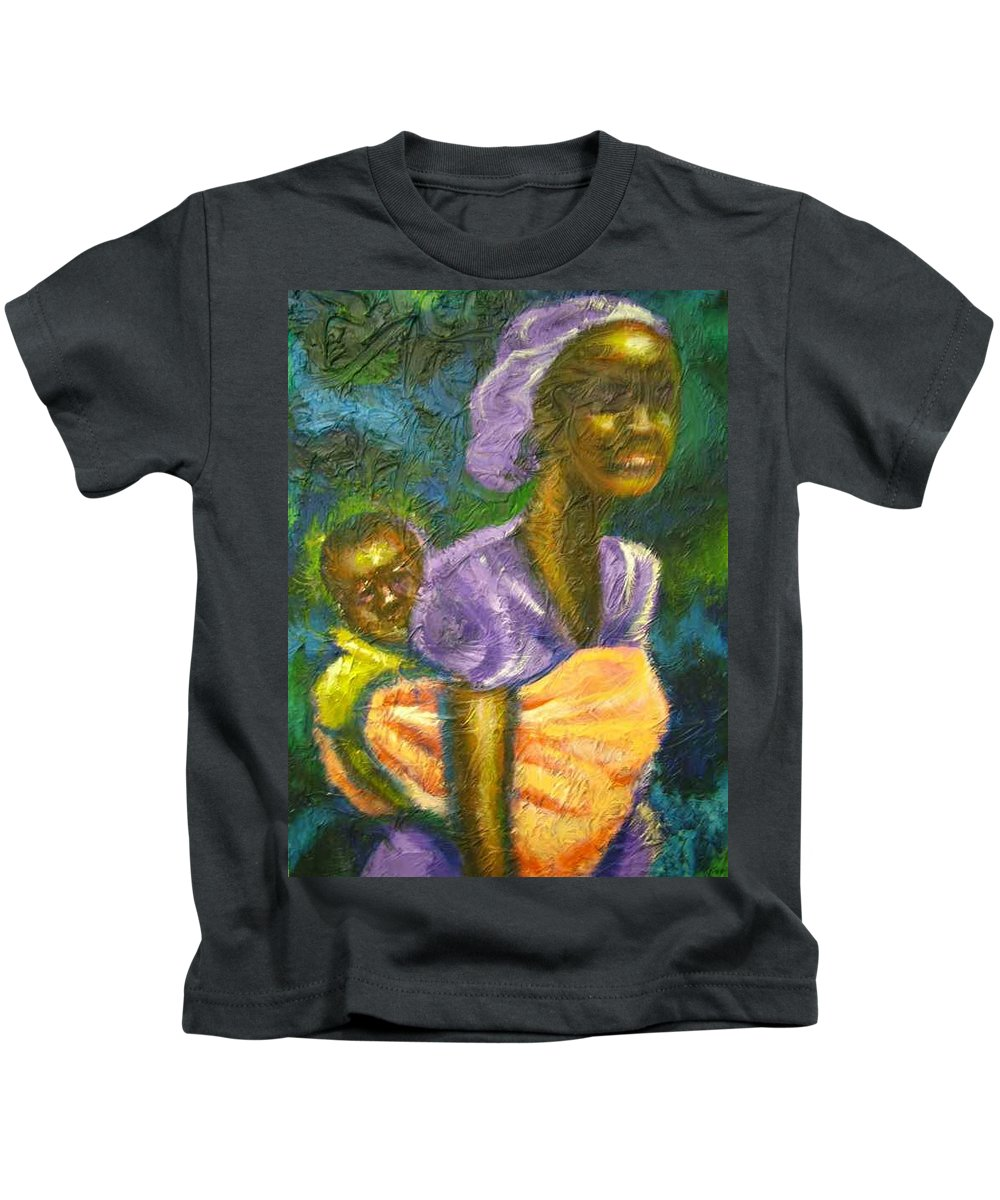 Mother And Child Kids T-Shirt featuring the painting Safe And Secure by Jan Gilmore