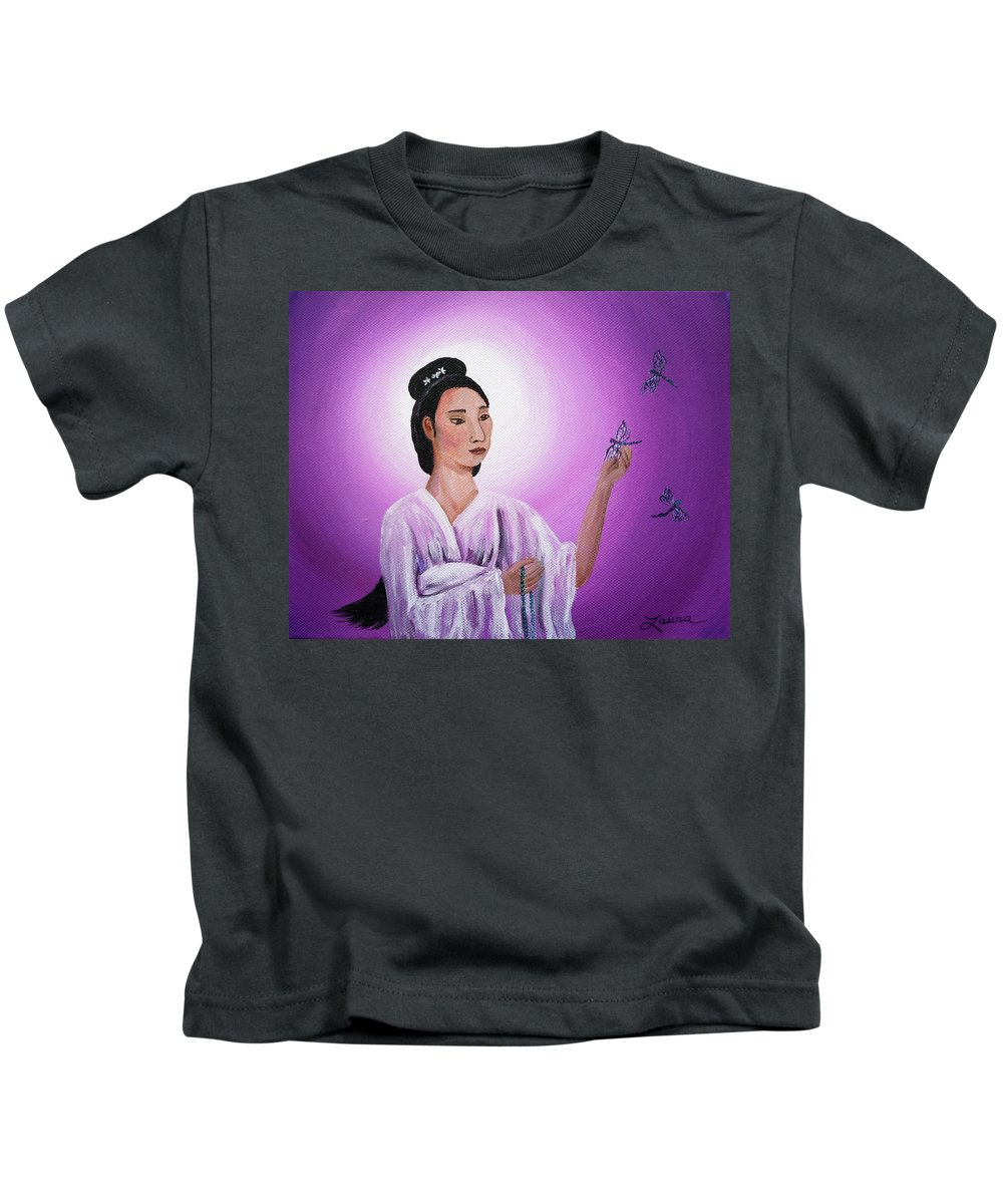 Quan Yin Kids T-Shirt featuring the painting Quan Yin With Three Dragonflies by Laura Iverson