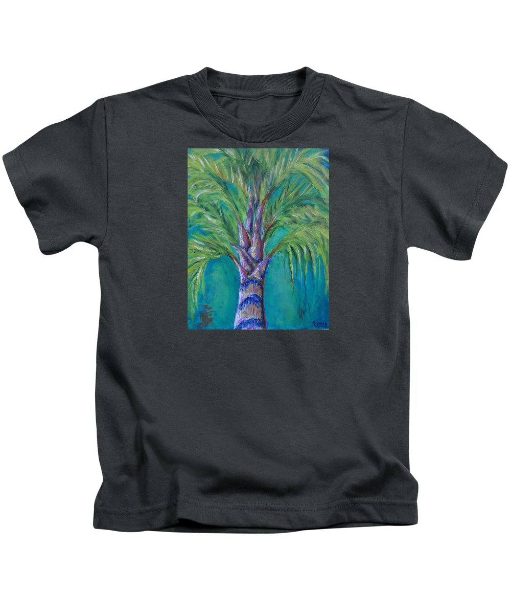 Queen Palm Kids T-Shirt featuring the painting Queen Palm by Kim Jones aka Salty