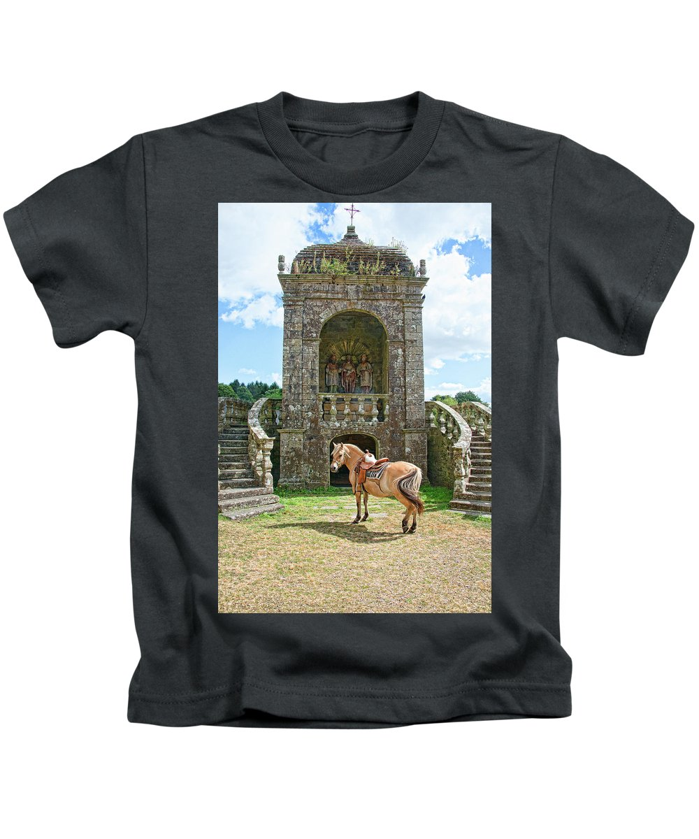 Quelven Village Square Kids T-Shirt featuring the photograph Quelven Village Square, Awaiting His Owner, Brittany, France by Curt Rush