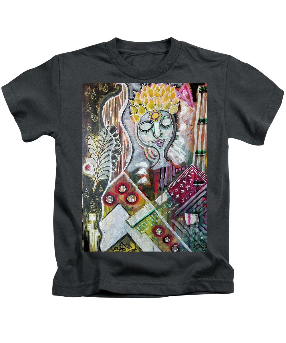 Bliss Kids T-Shirt featuring the mixed media Quiet Bliss by Mimulux patricia No