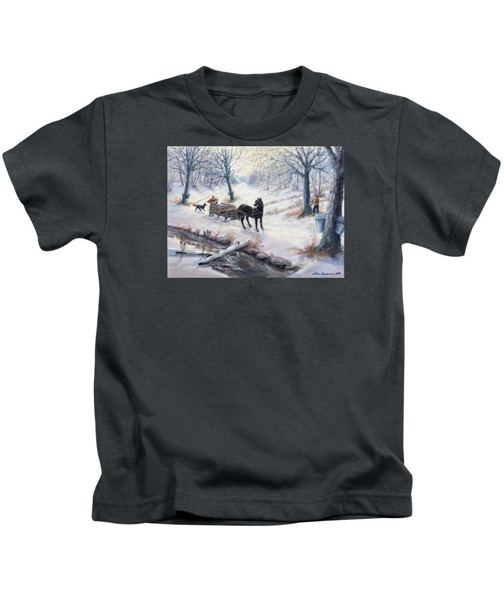 Wooded Scene During Maple Sap Season Kids T-Shirt featuring the painting Quiet In The Woods by Steven Assmann