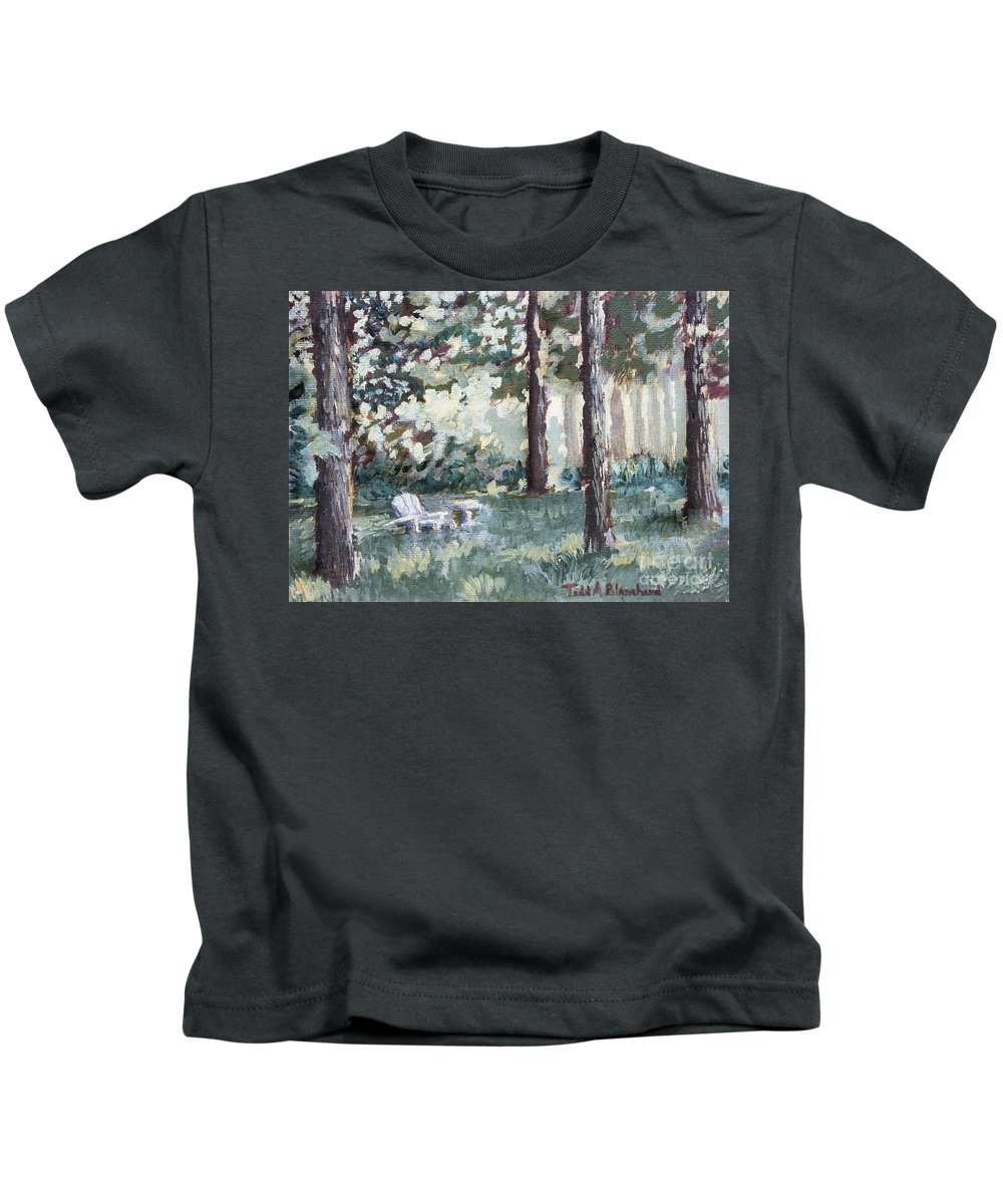 Landscape Kids T-Shirt featuring the painting Quiet Place by Todd Blanchard
