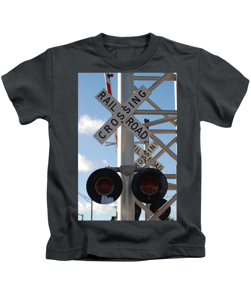 Train Kids T-Shirt featuring the photograph R X R Crossing by Rob Hans