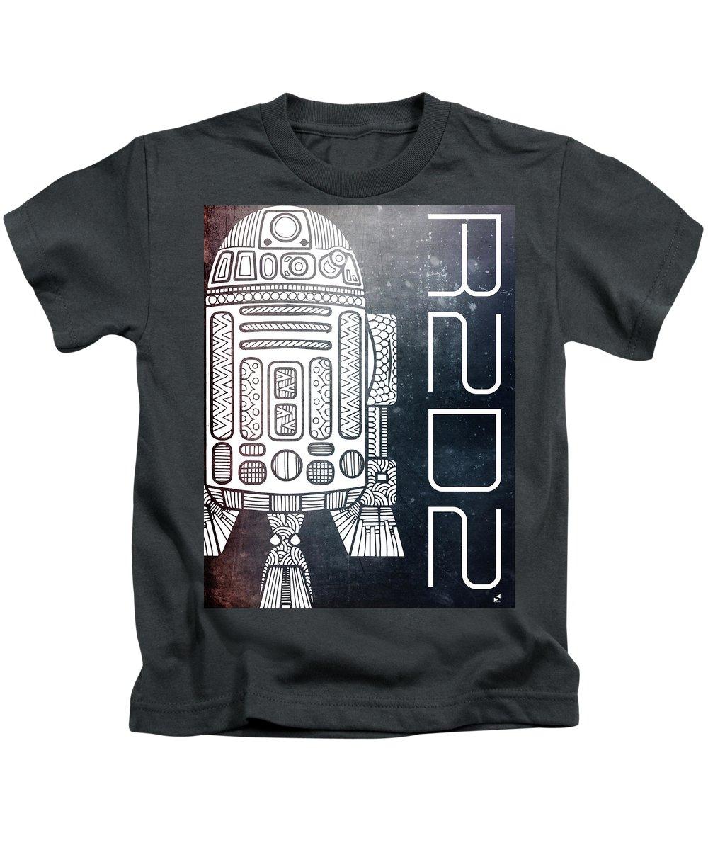R2d2 Kids T-Shirt featuring the mixed media R2d2 - Star Wars Art - Space by Studio Grafiikka