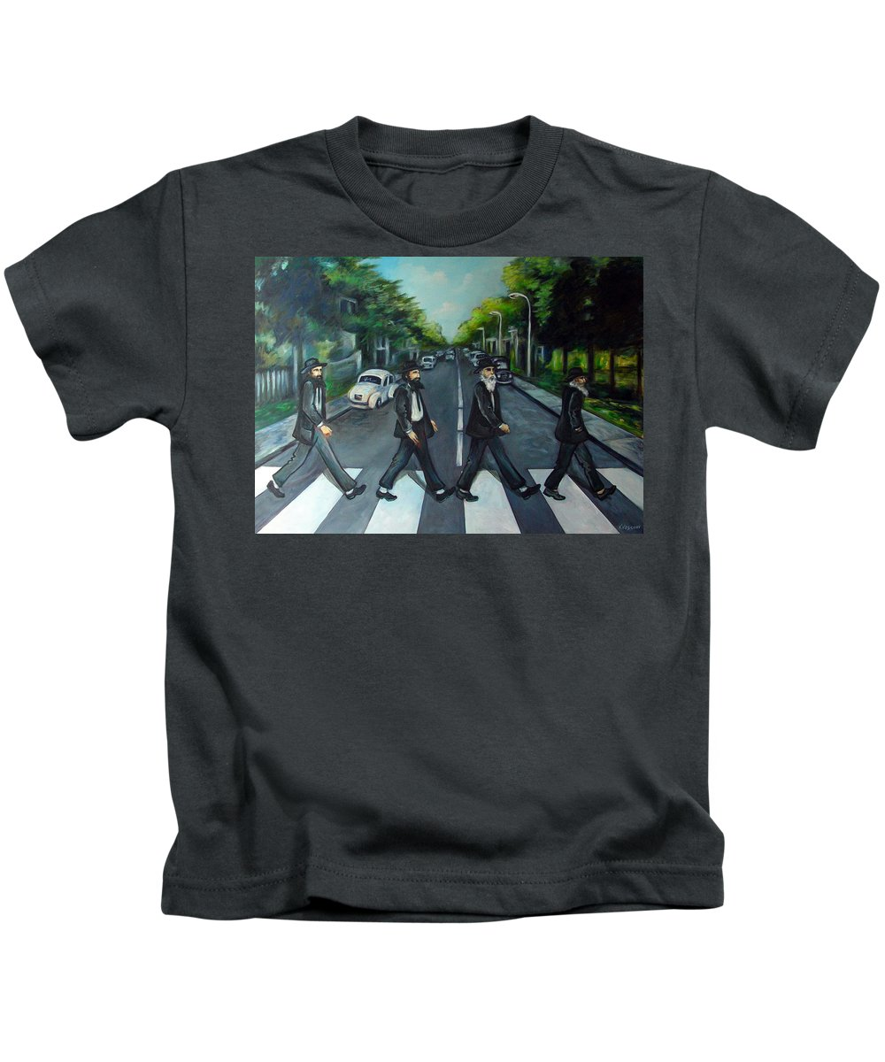 Surreal Kids T-Shirt featuring the painting Rabbi Road by Valerie Vescovi