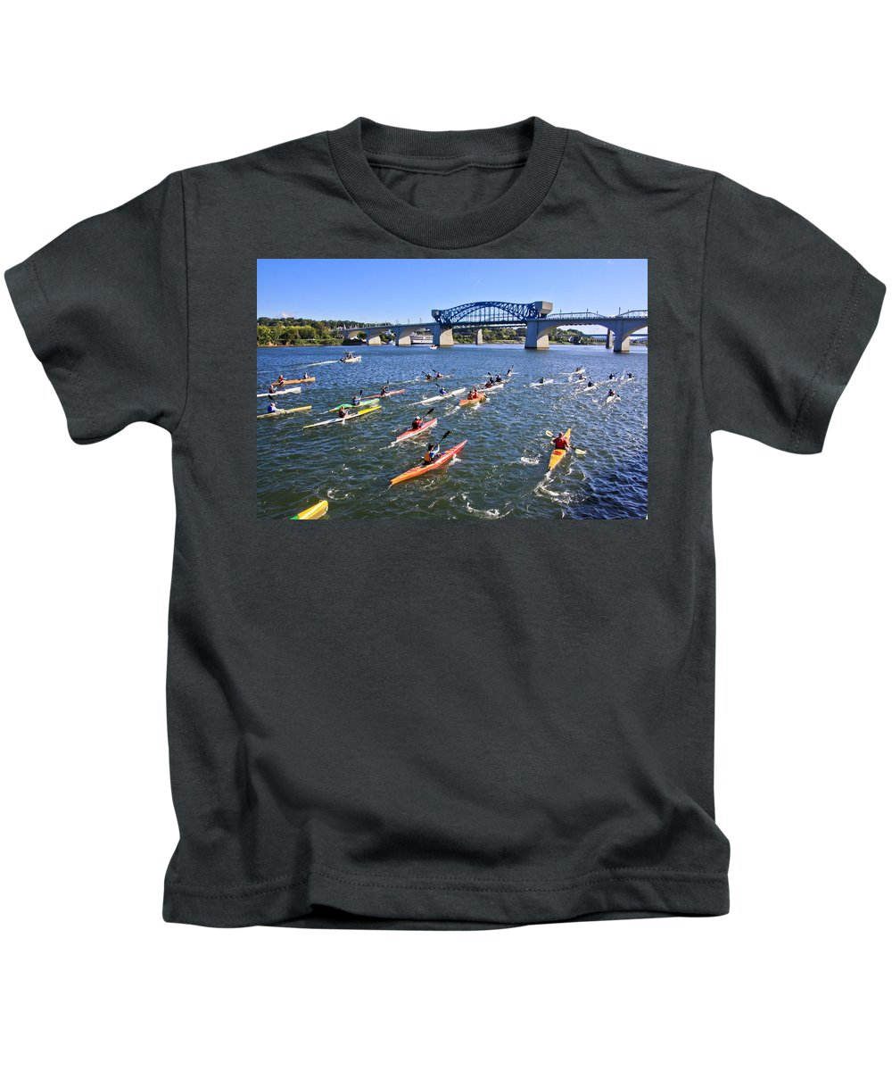 Market Street Bridge Kids T-Shirt featuring the photograph Race On The River by Tom and Pat Cory