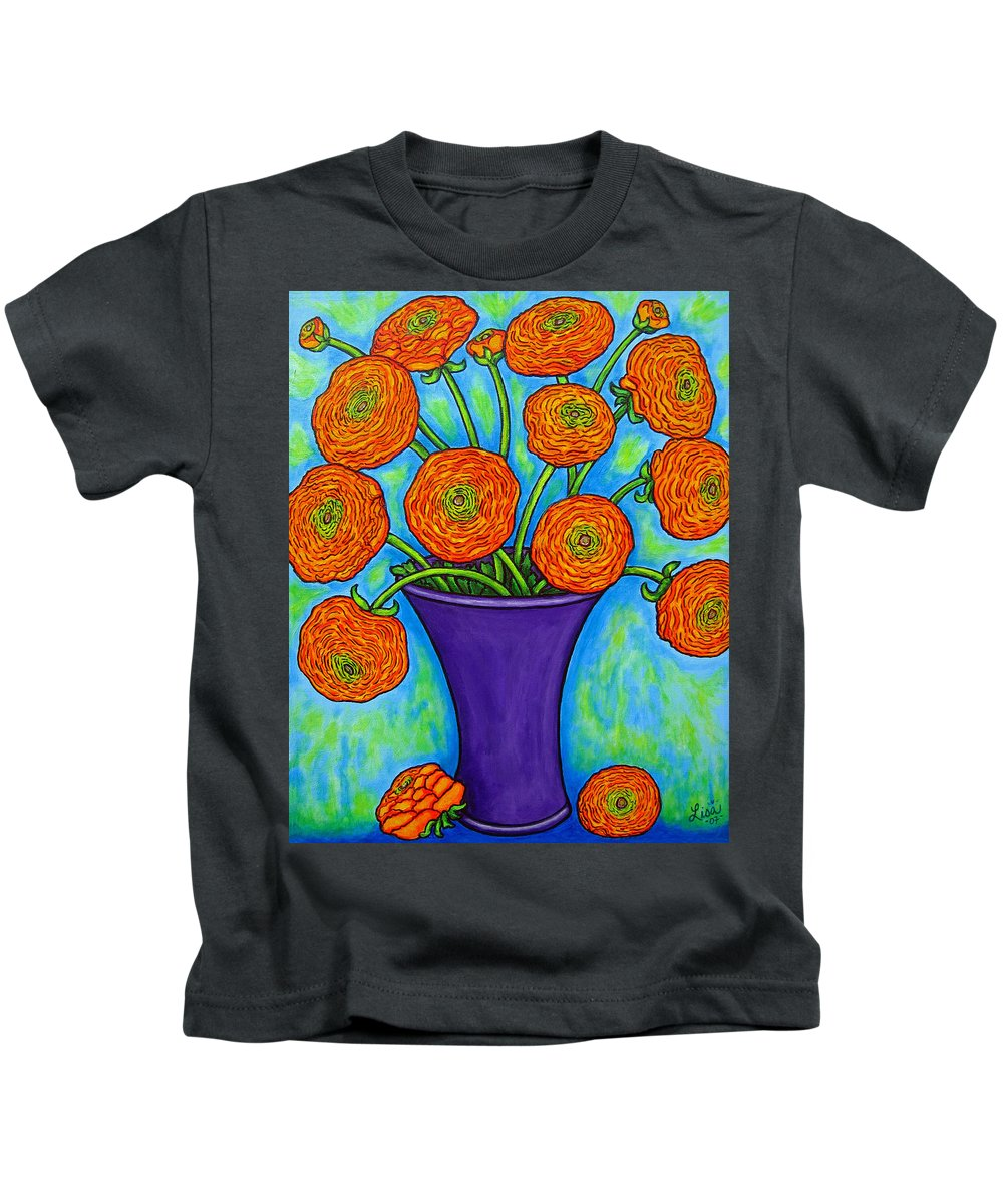 Green Kids T-Shirt featuring the painting Radiant Ranunculus by Lisa Lorenz