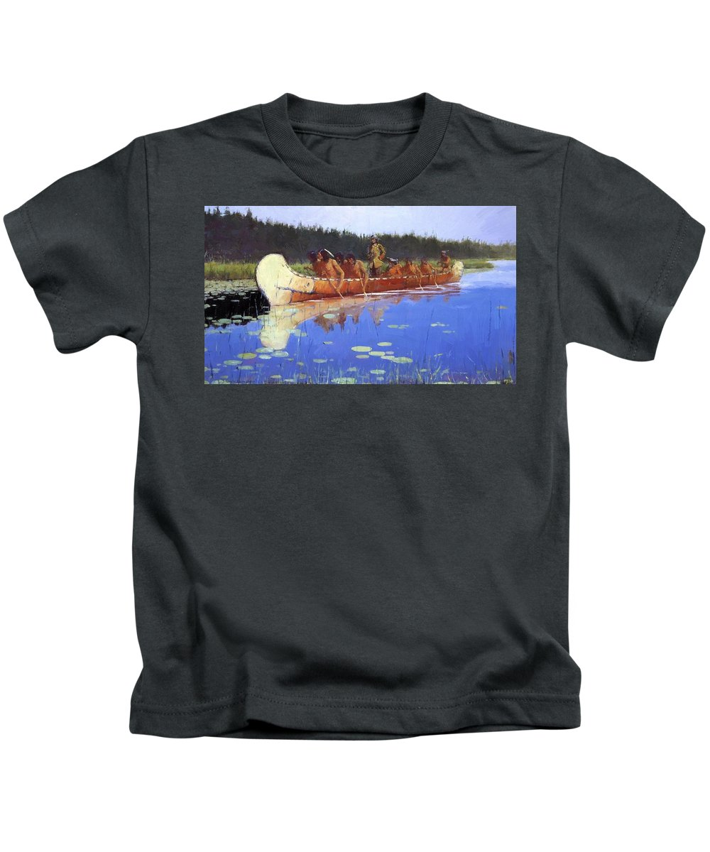 Radisson Kids T-Shirt featuring the painting Radisson And Groseilliers 1905 by Remington Frederic
