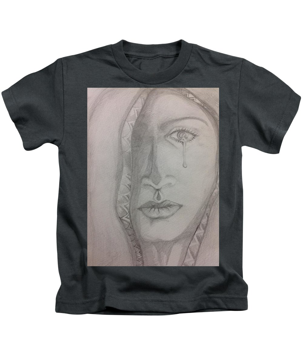 Portrait Kids T-Shirt featuring the painting Rage by Antara Chatterjee