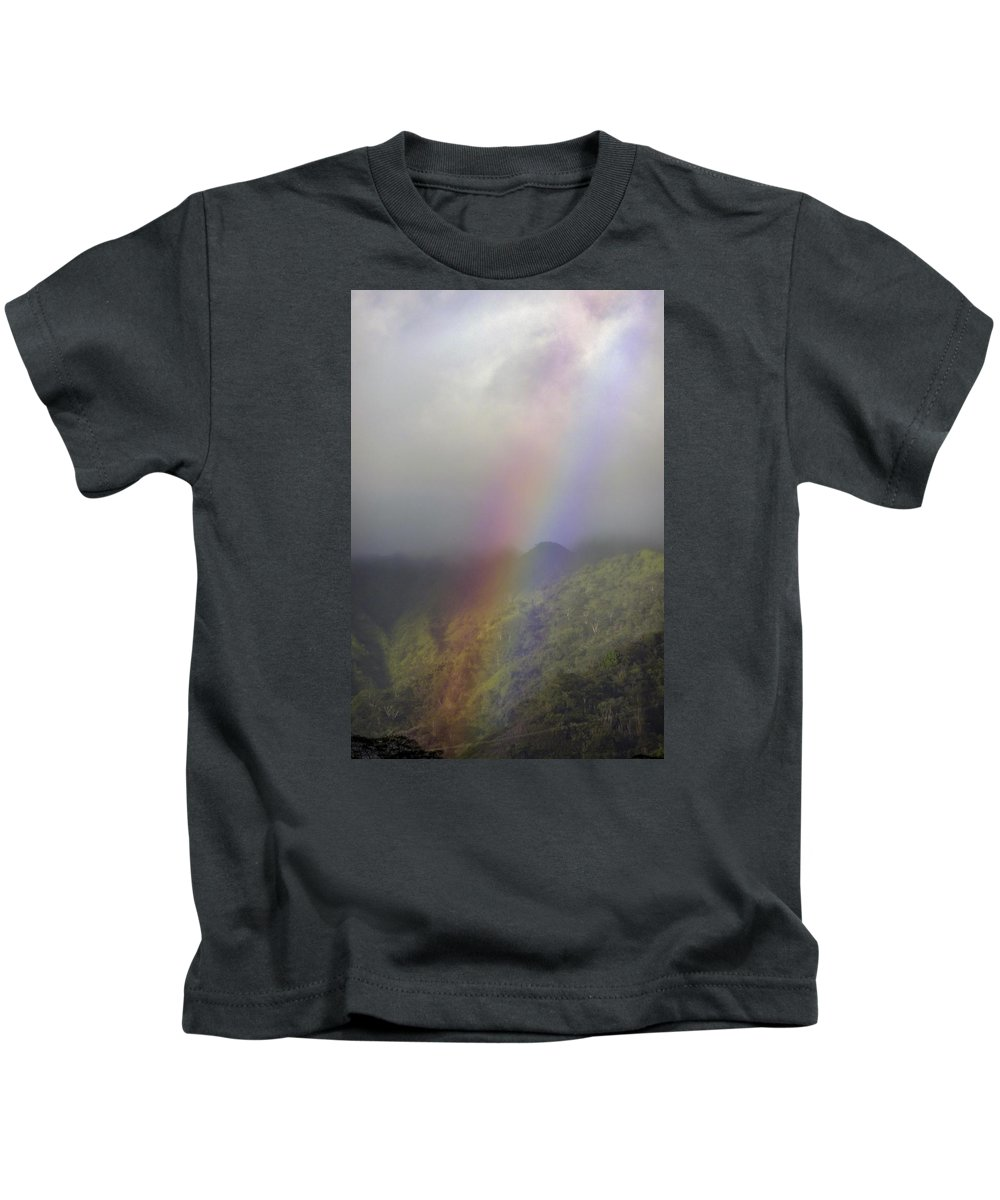Rainbow Kids T-Shirt featuring the photograph Rainbow On Oahu by NaturesPix