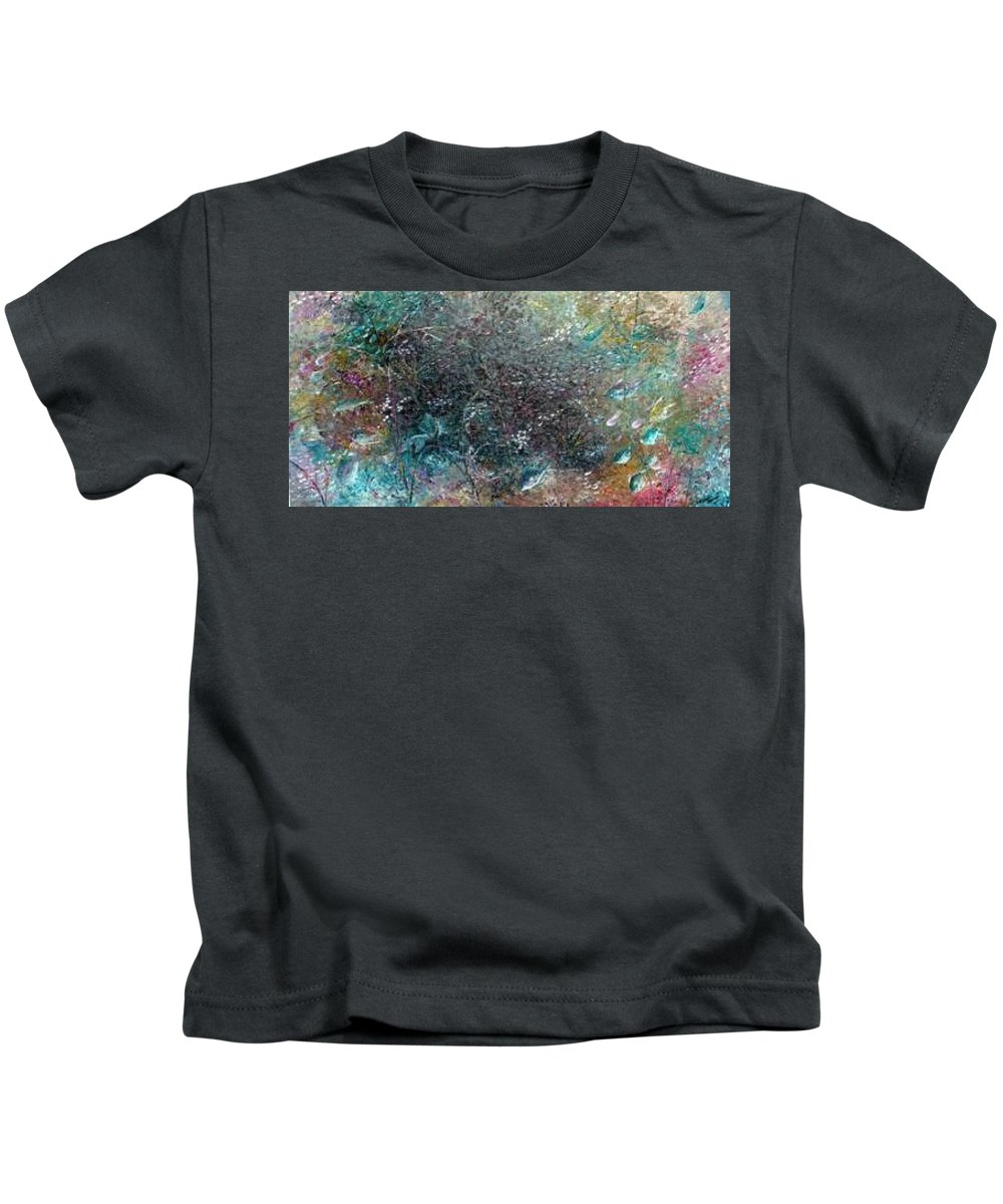 Original Abstract Painting Of Under The Sea Kids T-Shirt featuring the painting Rainbow Reef by Karin Dawn Kelshall- Best