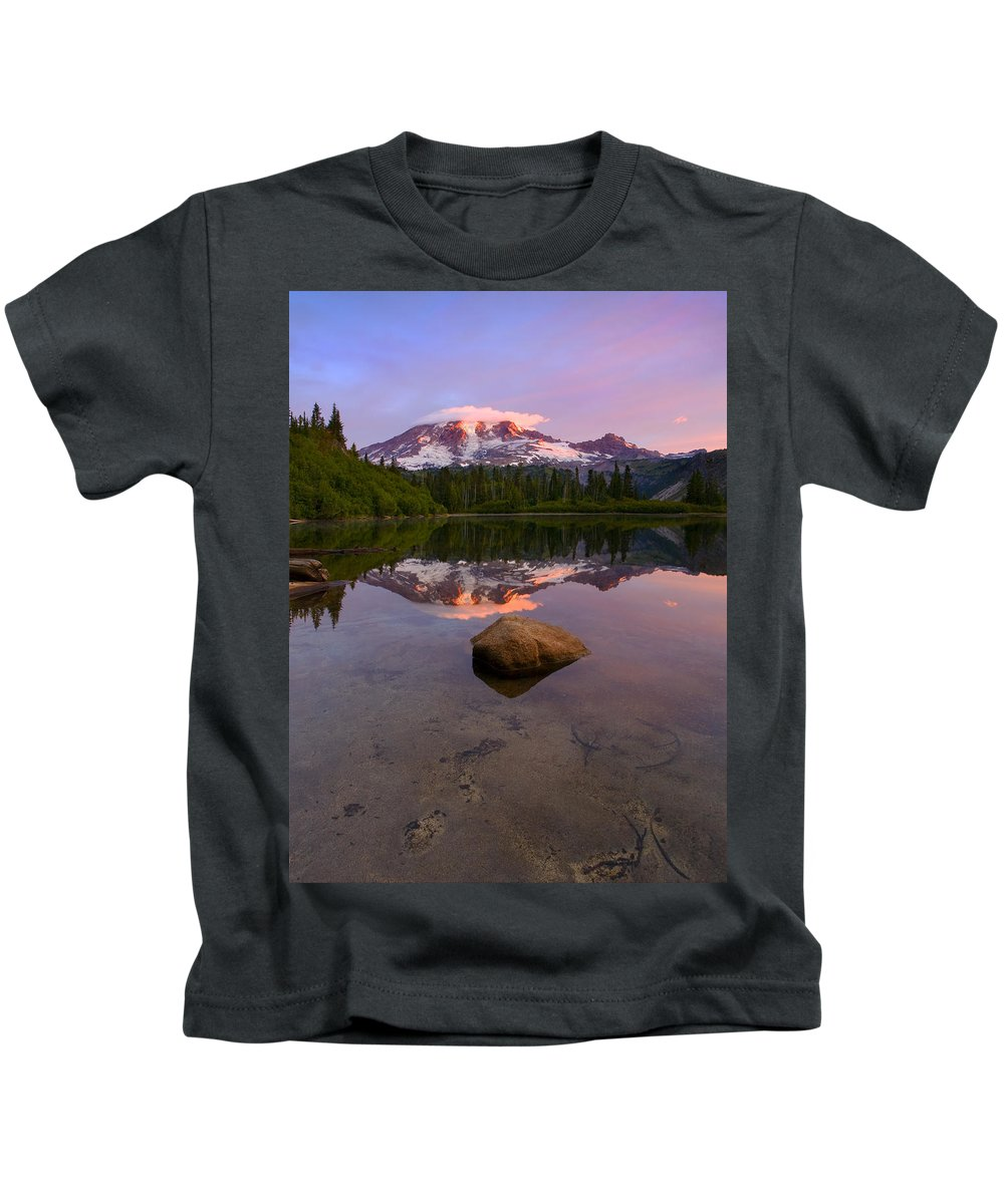 Mt. Rainier Kids T-Shirt featuring the photograph Rainier Dawn Breaking by Mike Dawson