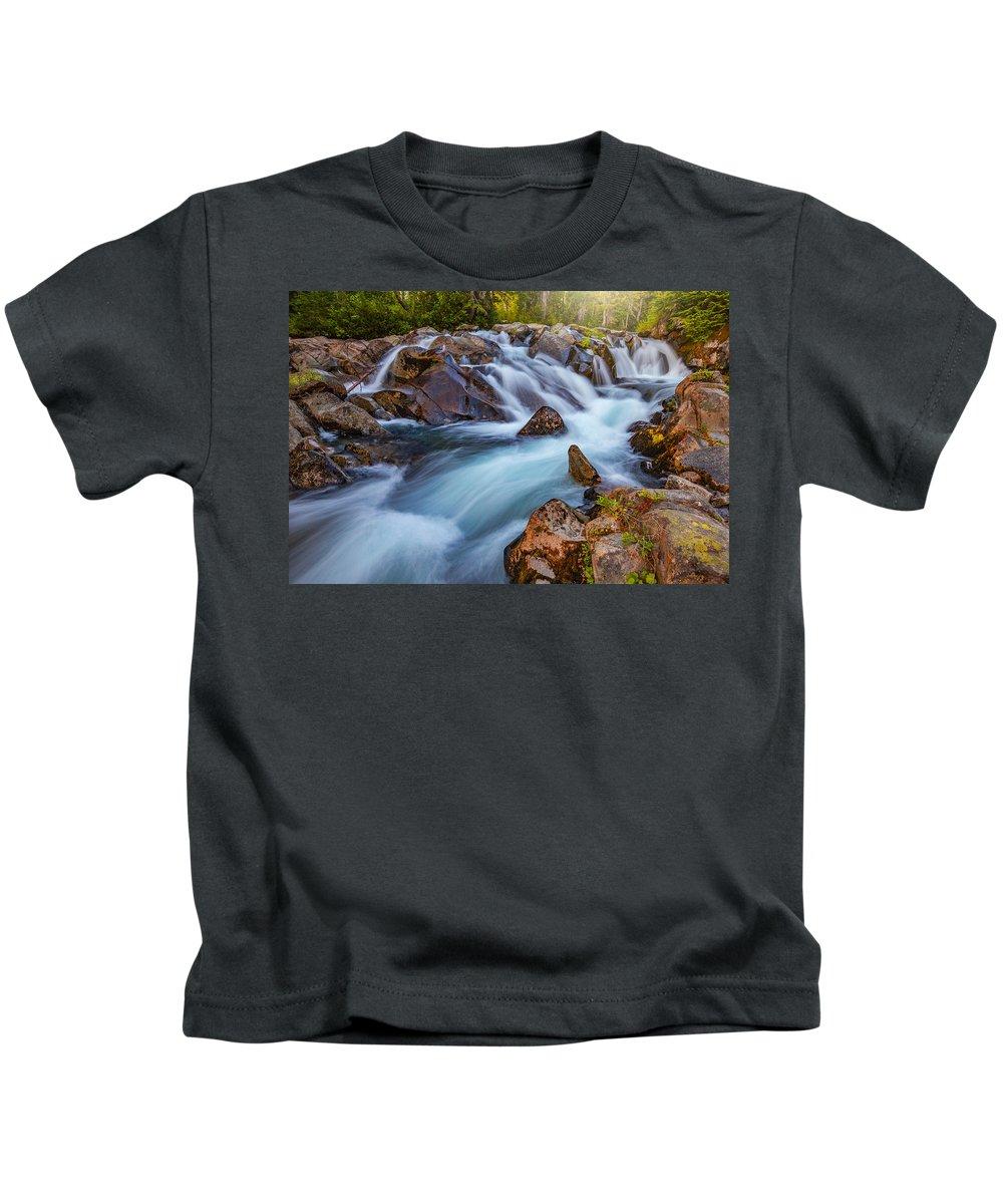 Waterfall Kids T-Shirt featuring the photograph Rainier Runoff by Darren White
