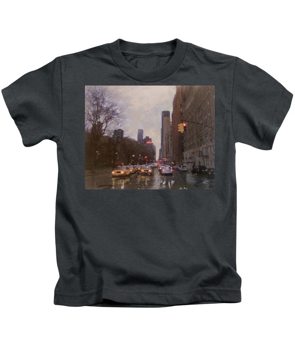 Rain Kids T-Shirt featuring the painting Rainy City Street by Anita Burgermeister