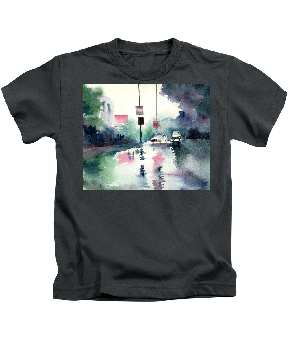 Nature Kids T-Shirt featuring the painting Rainy Day by Anil Nene