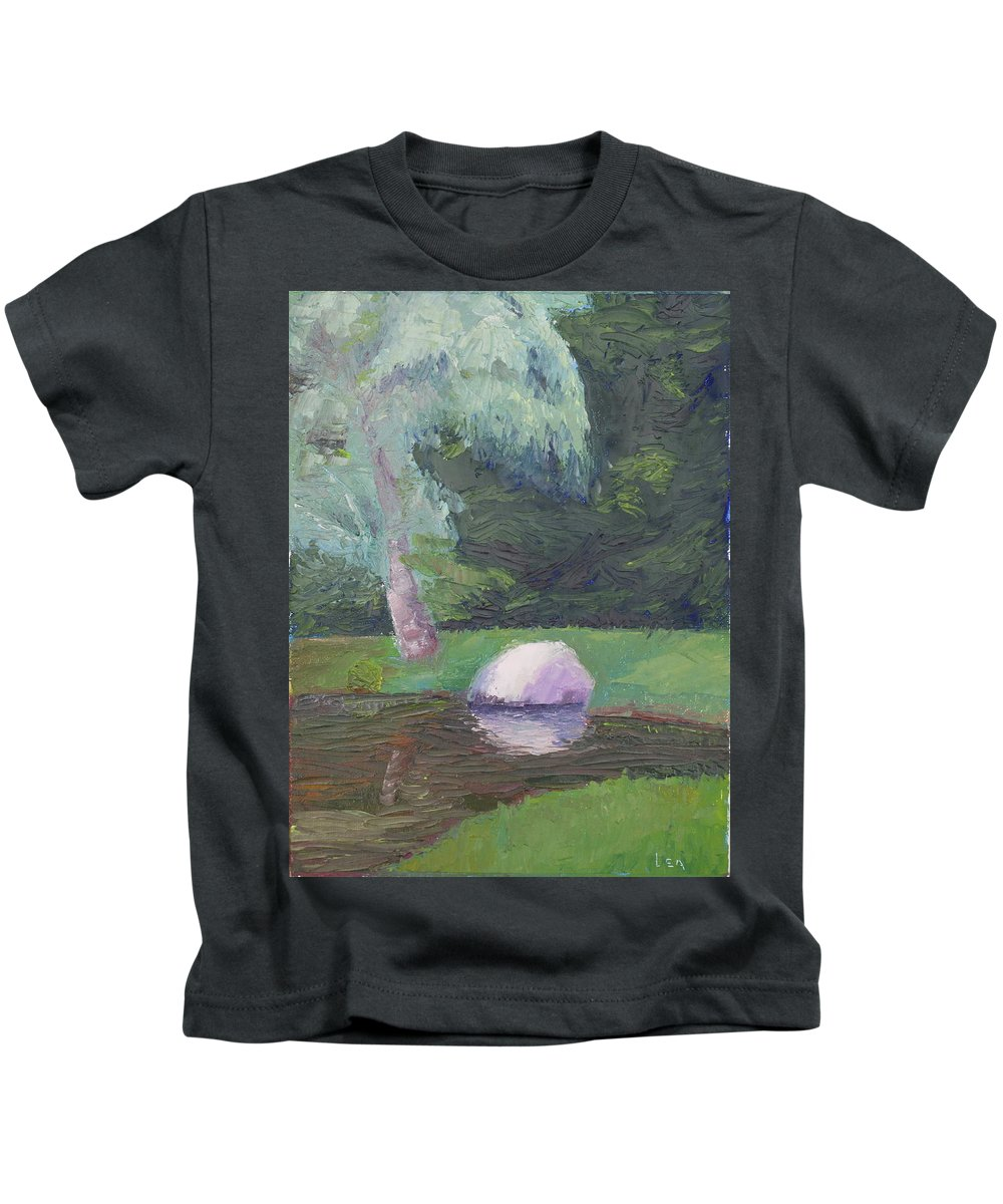 Landscape Painting Kids T-Shirt featuring the painting Rainy Day by Lea Novak