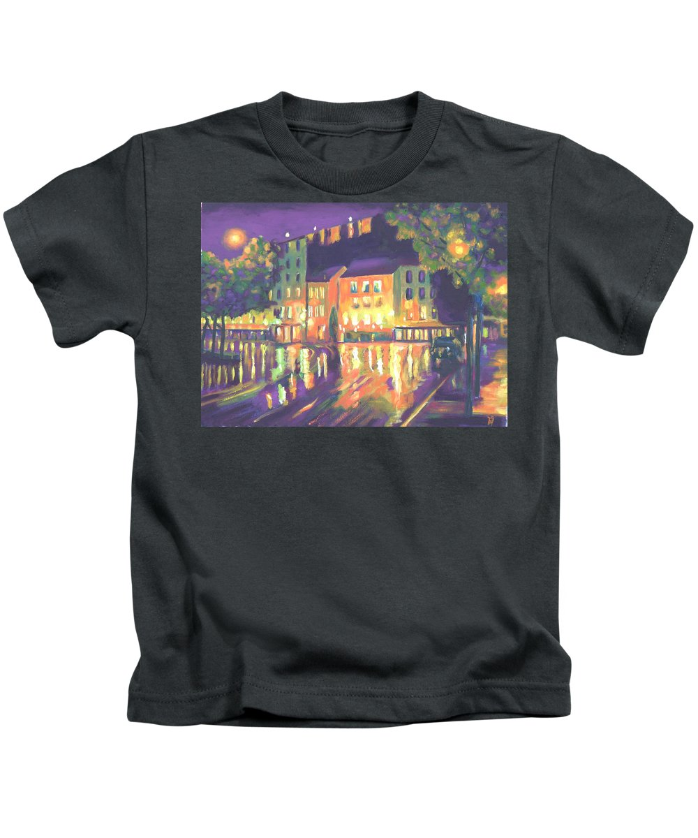 Night Scene. Impressionistic Kids T-Shirt featuring the painting Rainy Night-old Quebec by Robert P Hedden
