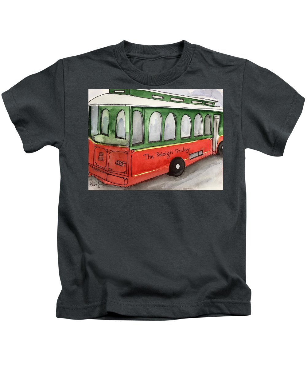 Raleigh Kids T-Shirt featuring the painting Raleigh Trolley by Kimberly Balentine
