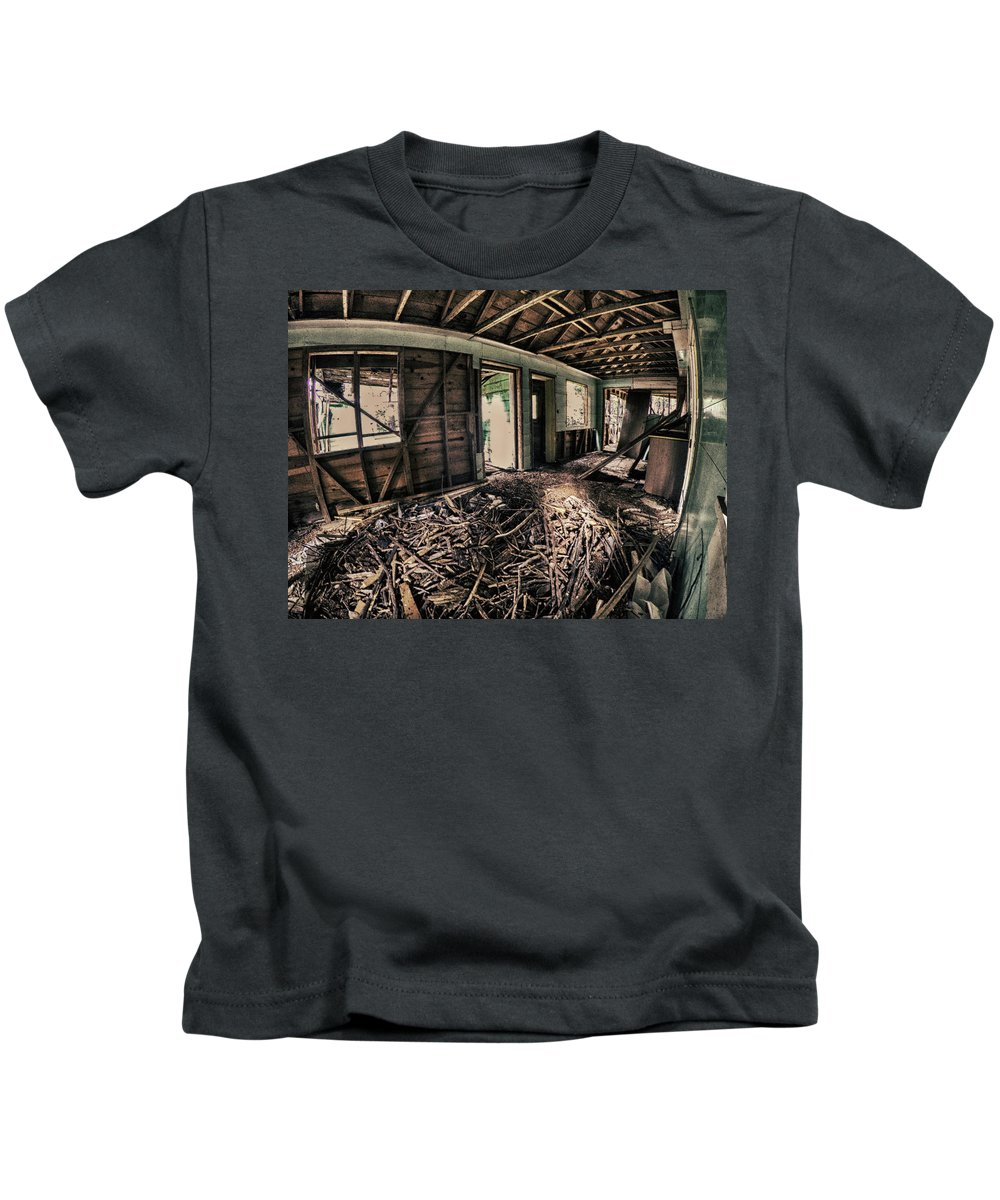 Dilapidated Kids T-Shirt featuring the photograph Rat Nest, Real Estate Series by Aaron James