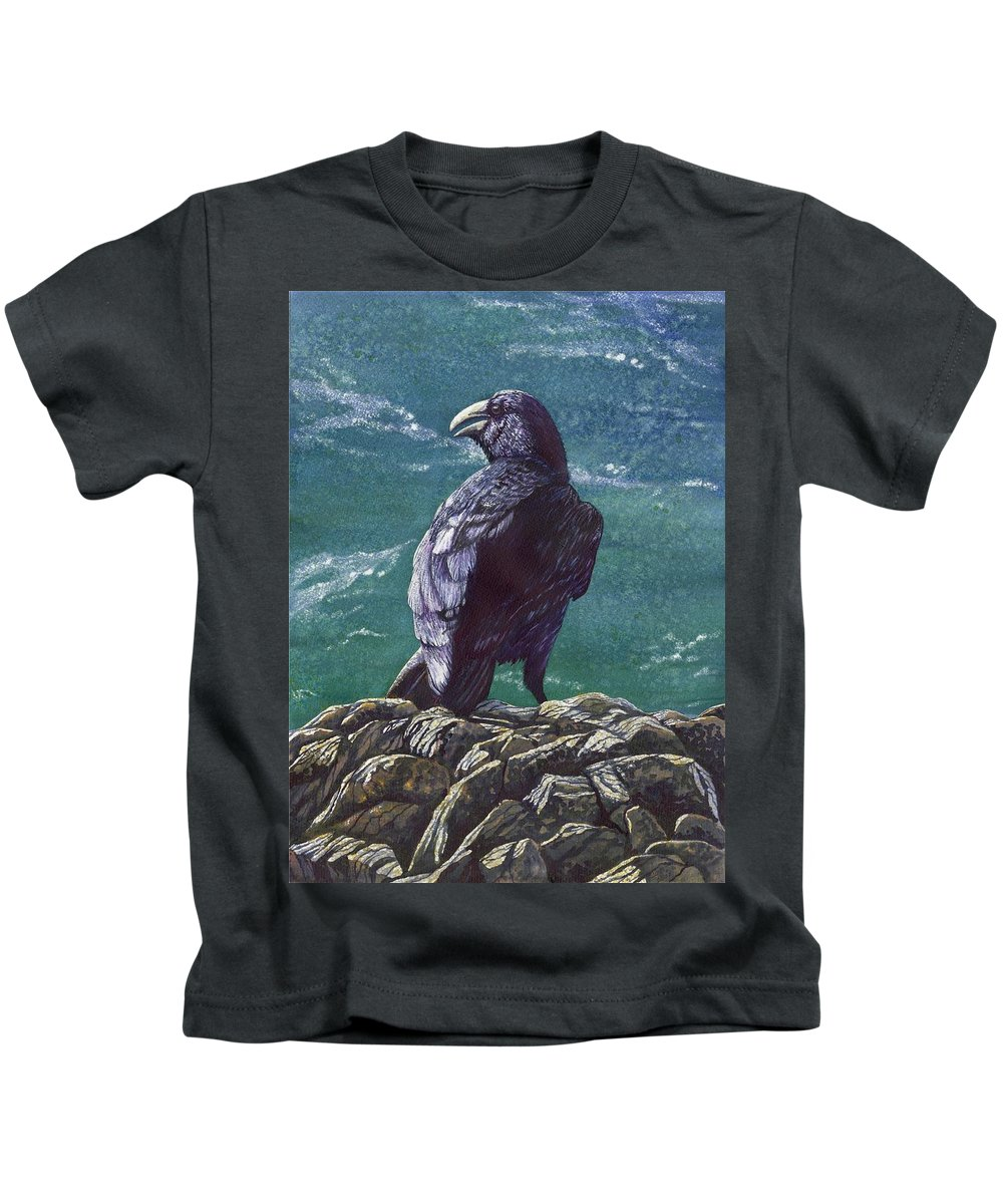 Bird Kids T-Shirt featuring the painting Raven by Catherine G McElroy
