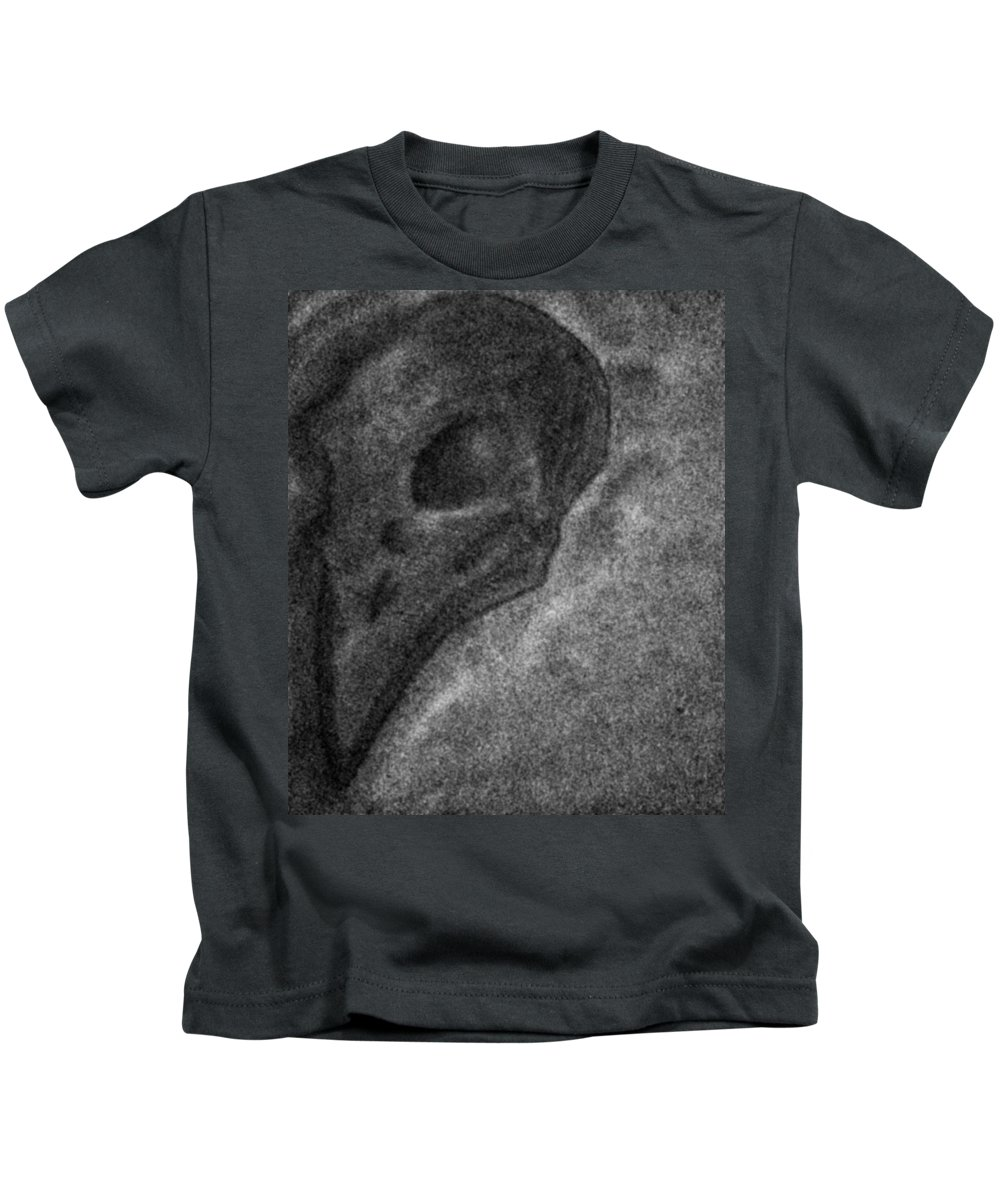 Horror Kids T-Shirt featuring the drawing Raven Skull by Bastian Sonneborn