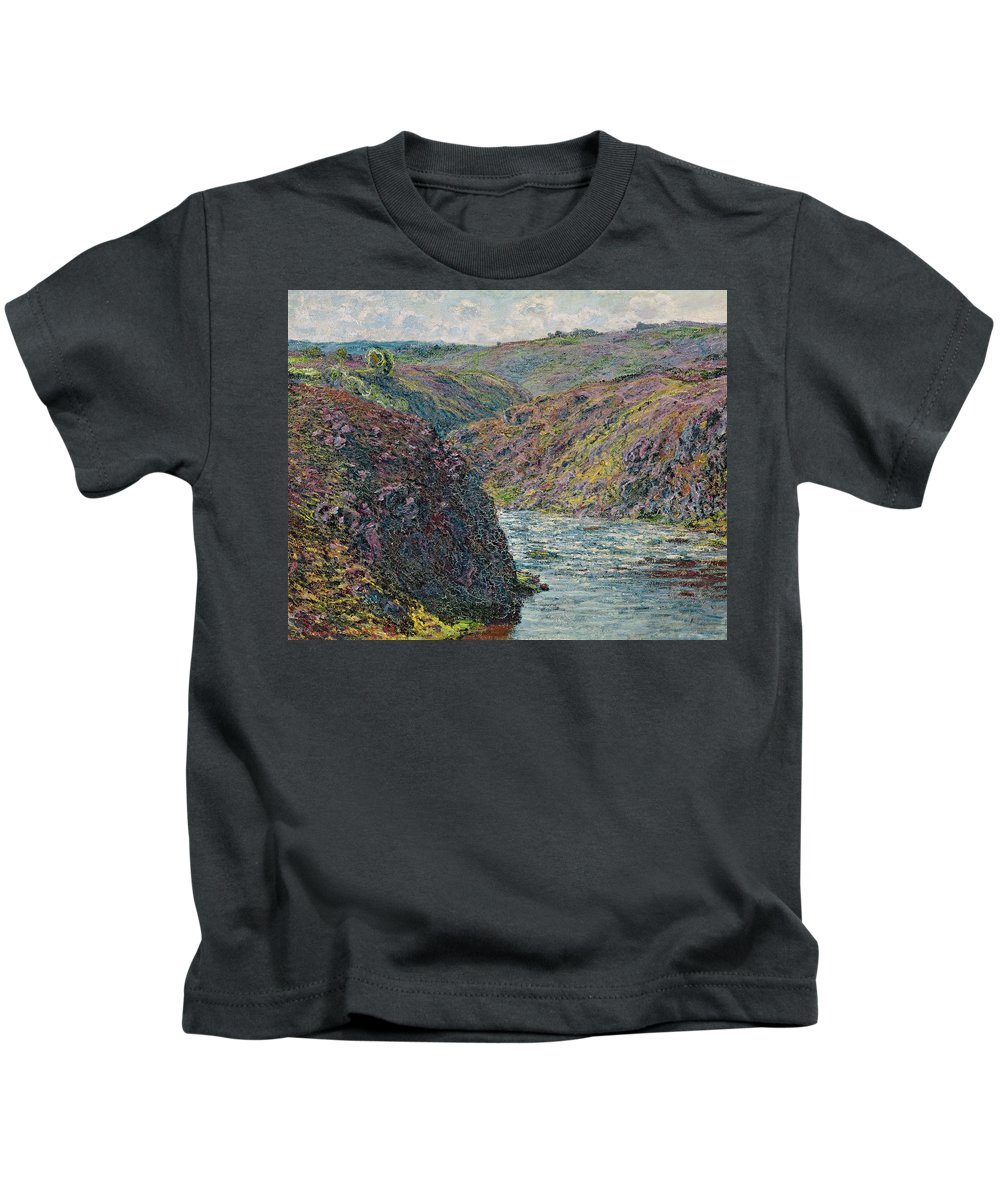 Sea Kids T-Shirt featuring the painting Ravines Of The Creuse At The End Of The Day by Claude Monet