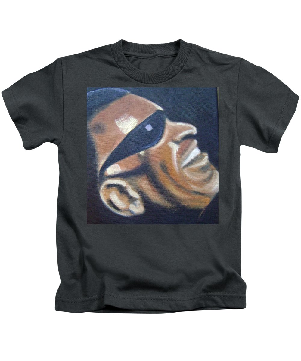 Ray Charles Kids T-Shirt featuring the painting Ray Charles by Toni Berry