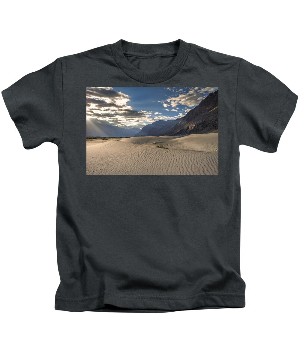 Rays Kids T-Shirt featuring the photograph Rays On Dunes by Hitendra SINKAR