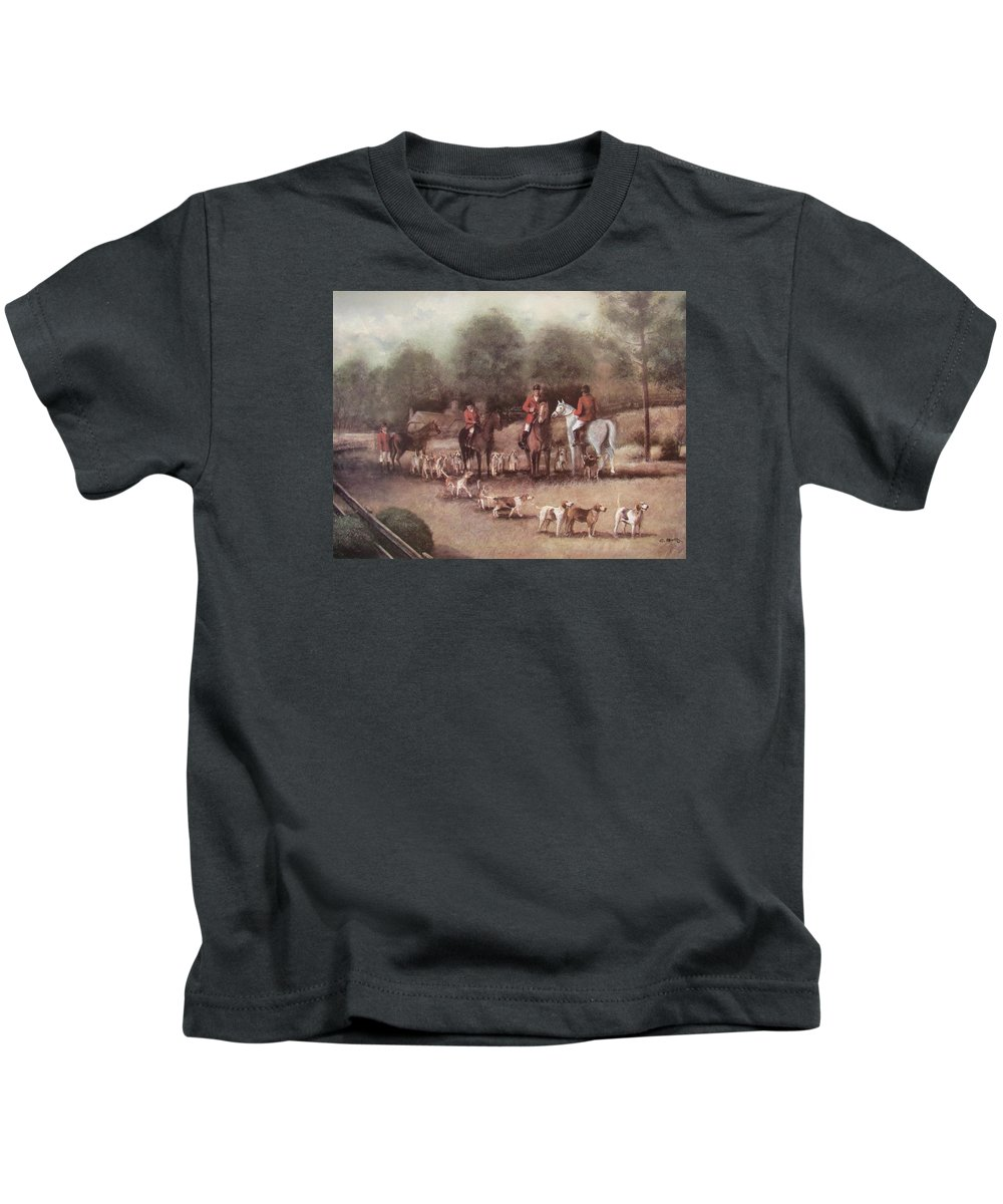 Charles Roy Smith Kids T-Shirt featuring the painting Ready For The Hunt by Charles Roy Smith